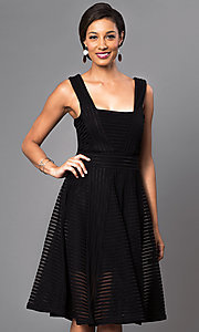 Image of knee-length sleeveless dress with sheer stripes. Style: LUX-LD2435 Front Image