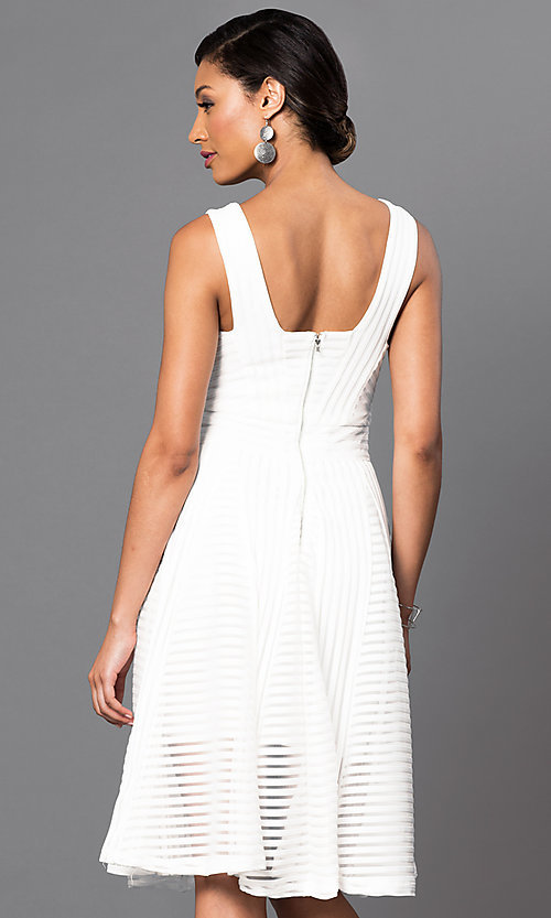 Image of knee-length sleeveless dress with sheer stripes. Style: LUX-LD2435 Back Image