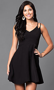 V-Neck Semi-Casual Double-Strap A-Line Dress
