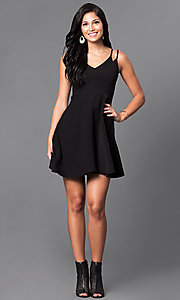 Image of v-neck semi-casual double-strap a-line dress. Style: VJ-VD31512 Detail Image 1
