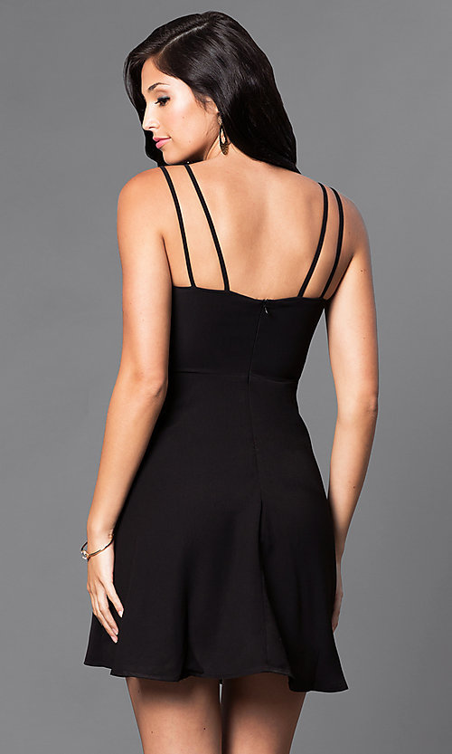 Image of v-neck semi-casual double-strap a-line dress. Style: VJ-VD31512 Back Image