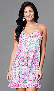 Print V-Neck Camisole Short Shift Dress