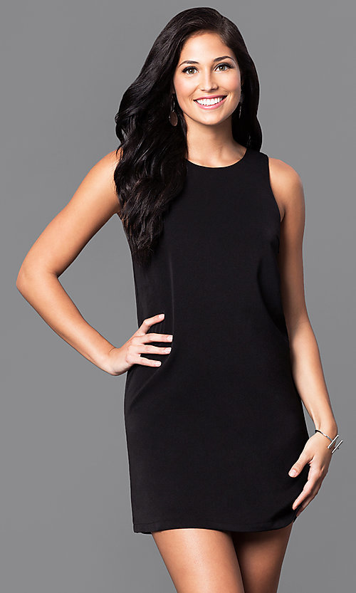 Image of casual short shift dress with back cut outs. Style: VJ-VD31612 Front Image