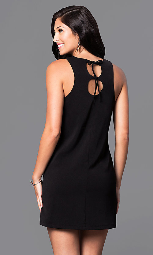 Image of casual short shift dress with back cut outs. Style: VJ-VD31612 Back Image