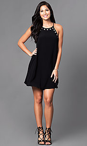 Image of short black spaghetti-strap casual shift dress. Style: VJ-VD31645 Detail Image 1