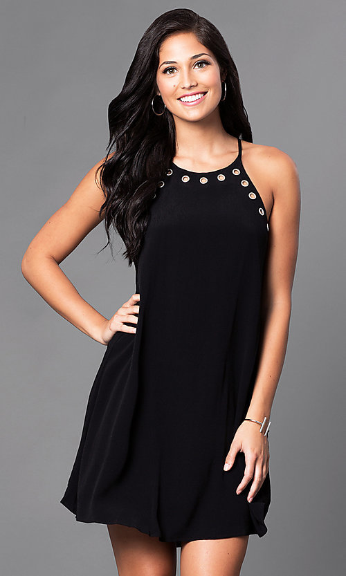 Image of short black spaghetti-strap casual shift dress. Style: VJ-VD31645 Front Image