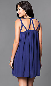 Image of casual sleeveless v-neck short shift dress. Style: VJ-LD40985 Back Image