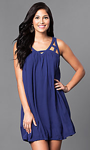 Image of casual sleeveless v-neck short shift dress. Style: VJ-LD40985 Front Image