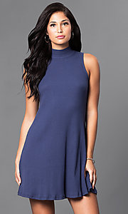 Short High-Neck Sleeveless Casual Summer Shift Dress
