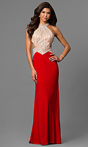 Image of long red high-neck sleeveless formal dress. Style: AL-6660 Front Image
