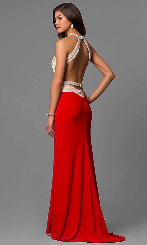 Image of long red high-neck sleeveless formal dress. Style: AL-6660 Back Image
