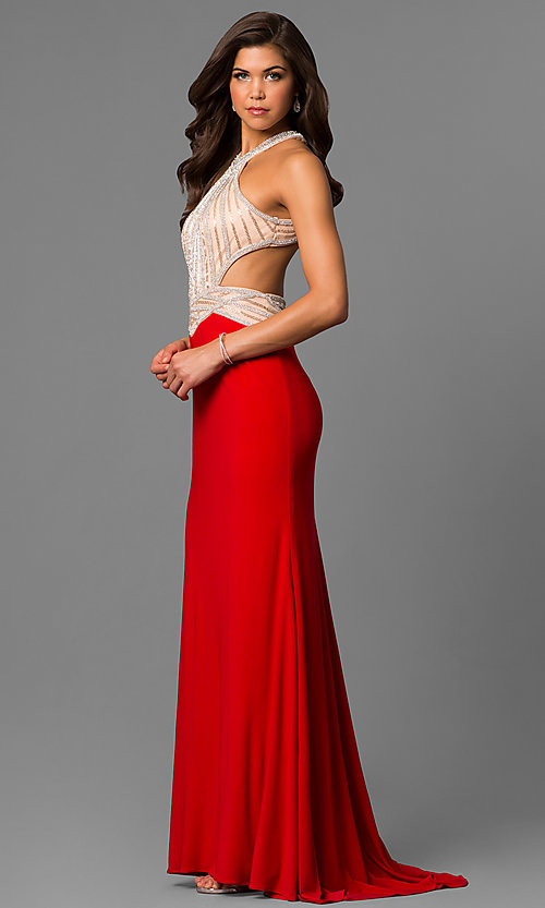 Image of long red high-neck sleeveless formal dress. Style: AL-6660 Detail Image 1