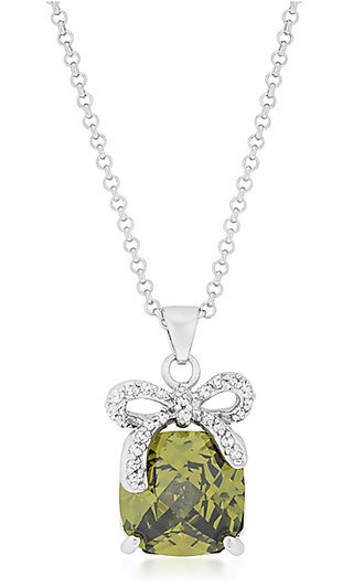Green Bow Pendant Necklace