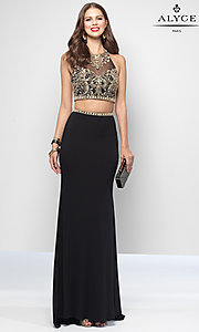Alyce Long Two Piece Halter Formal Dress