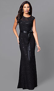 Image of long sequined-lace formal dress with bow. Style: SF-8834 Detail Image 1