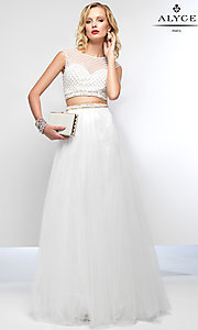 White Two Piece A-Line Formal Dress by Alyce