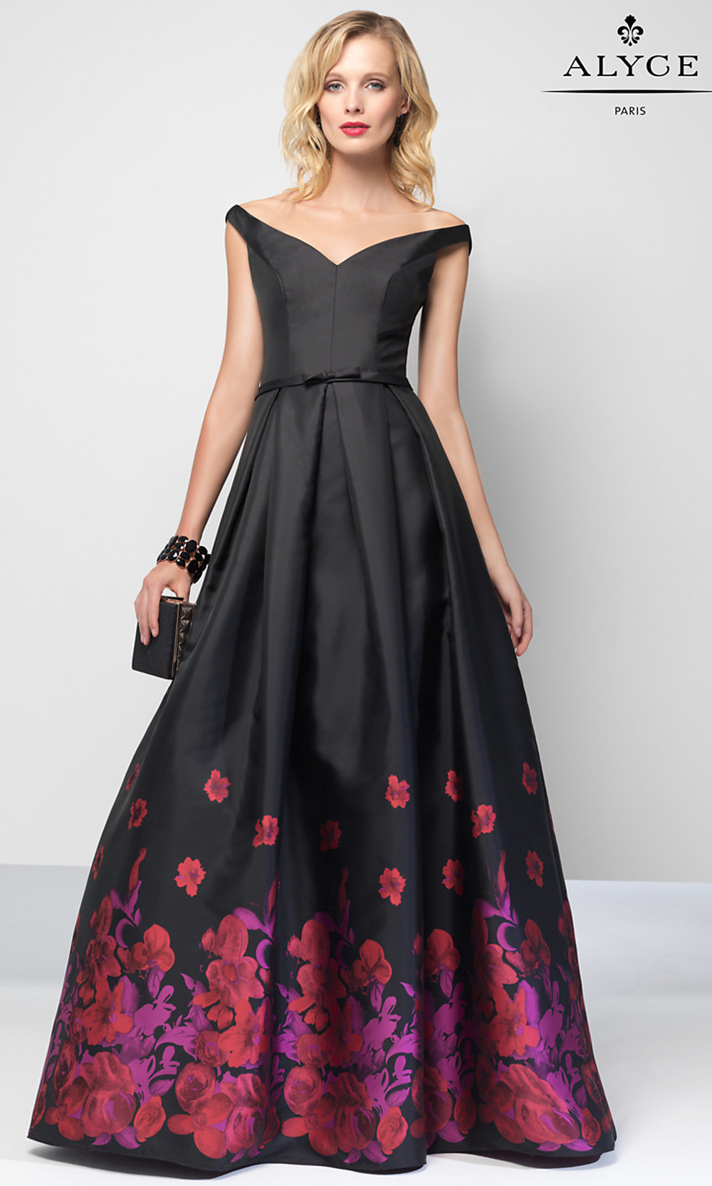 Long Off-the-Shoulder Print Prom Dress - PromGirl