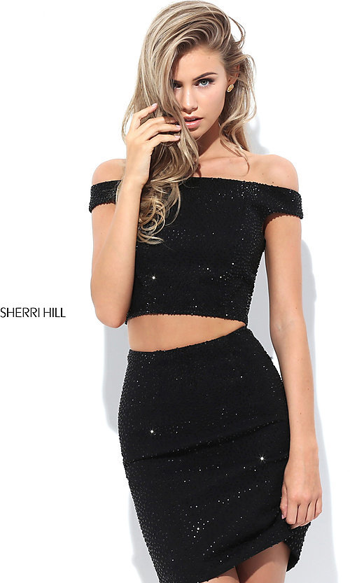 Image of two-piece off-the-shoulder beaded homecoming dress. Style: SH-50701 Front Image