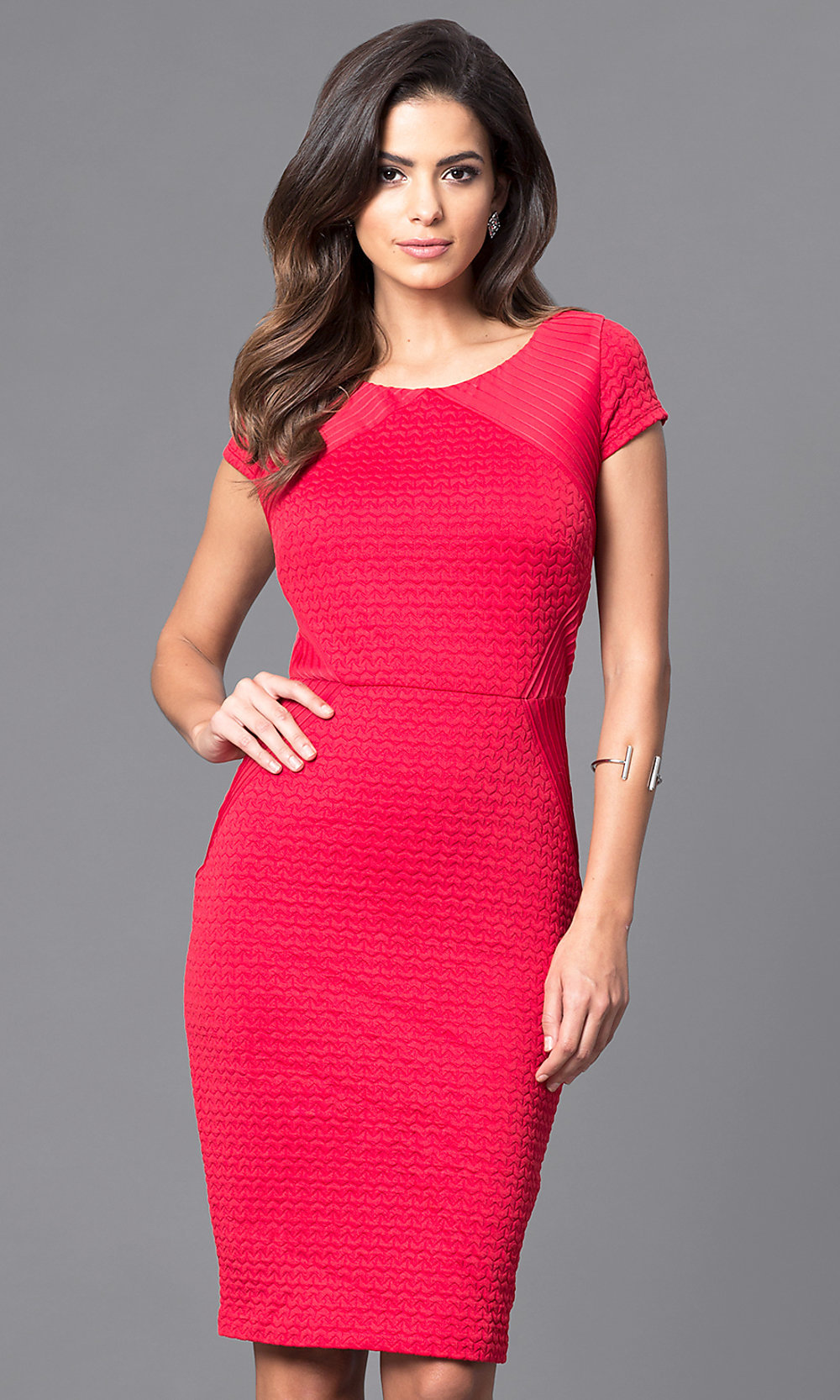 red daytonight party dress with sleeves promgirl