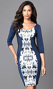 Knee-Length Print Front Three-Quarter Length Sleeve Dress