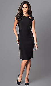 Image of black knee-length dress with cut outs. Style: SG-ASARXAZI Detail Image 1