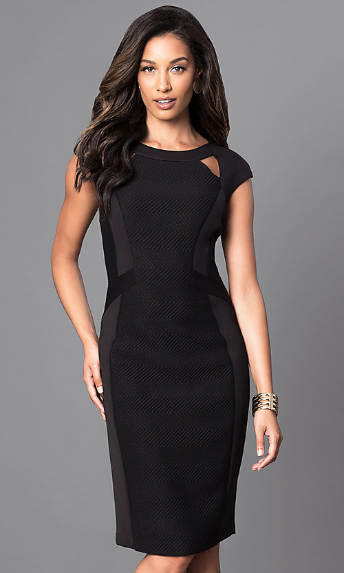 Image of black knee-length dress with cut outs. Style: SG-ASARXAZI Front Image