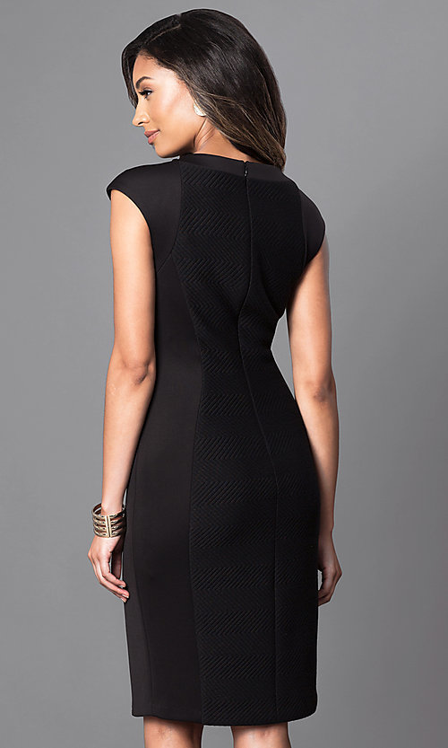 Image of black knee-length dress with cut outs. Style: SG-ASARXAZI Back Image