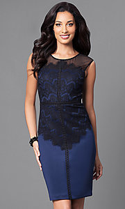 Image of blue homecoming party dress with lace bodice. Style: SG-ASMWR1ACM Front Image