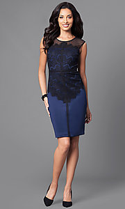 Image of blue homecoming party dress with lace bodice. Style: SG-ASMWR1ACM Detail Image 1