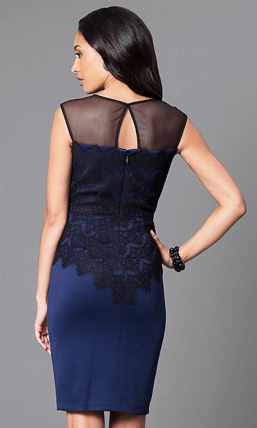 Image of blue homecoming party dress with lace bodice. Style: SG-ASMWR1ACM Back Image