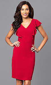 Red Knee-Length V-Neck Holiday Party Dress
