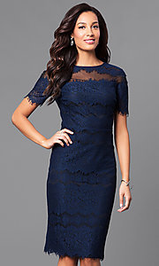 Dusk Blue Knee-Length Lace Party Dress