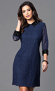 Lace Semi-Casual 3/4 Sleeve Party Dress
