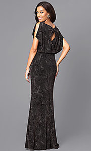 Image of long glittery black prom dress with blouson top. Style: SG-ASATQBCV Back Image