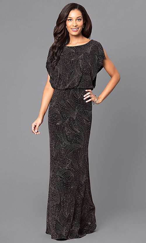 Image of long glittery black prom dress with blouson top. Style: SG-ASATQBCV Front Image