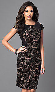 Image of knee-length cap-sleeve velvet-print party dress. Style: SG-ASASBAQW Front Image