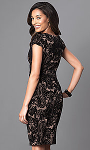 Image of knee-length cap-sleeve velvet-print party dress. Style: SG-ASASBAQW Back Image