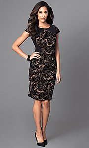 Image of knee-length cap-sleeve velvet-print party dress. Style: SG-ASASBAQW Detail Image 1