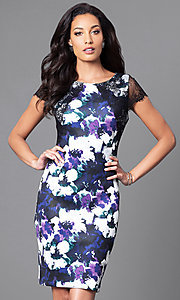 Image of floral-print knee-length semi-formal dress. Style: SG-ASAUX1AOI Front Image