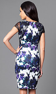 Image of floral-print knee-length semi-formal dress. Style: SG-ASAUX1AOI Back Image