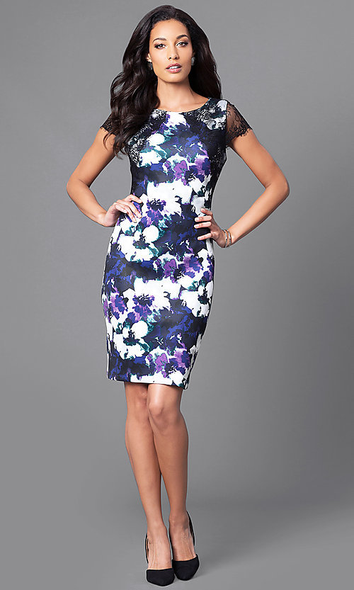 Image of floral-print knee-length semi-formal dress. Style: SG-ASAUX1AOI Detail Image 1
