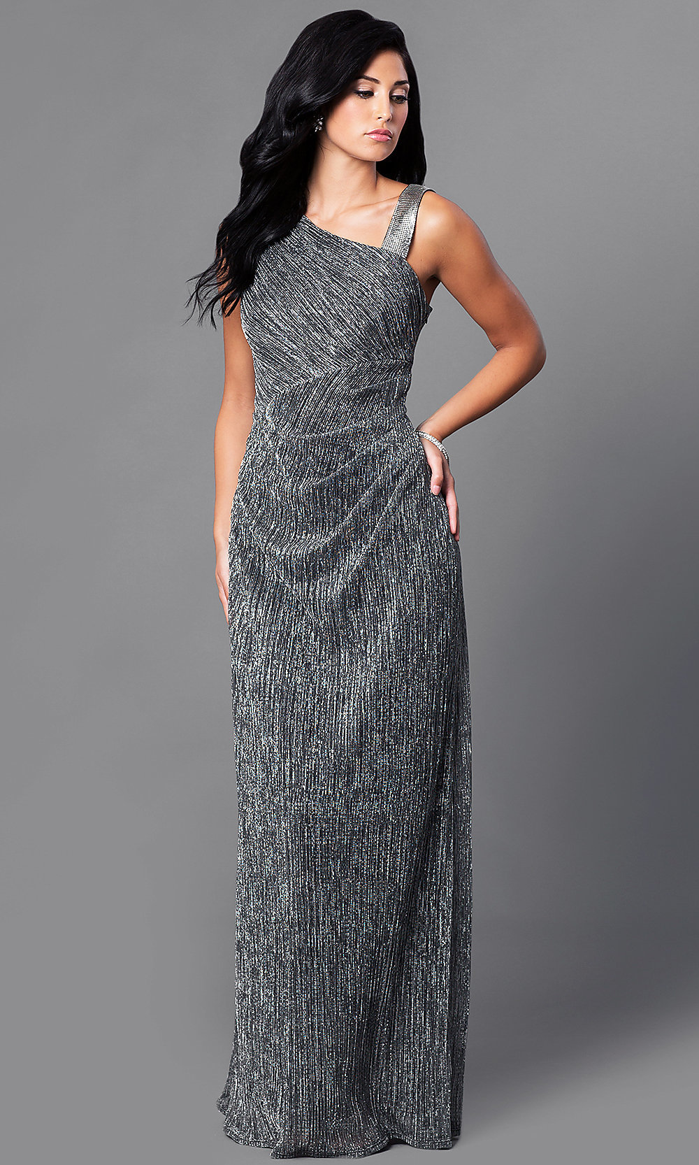 Cheap Long Prom Dress, Black Metallic Gown -PromGirl