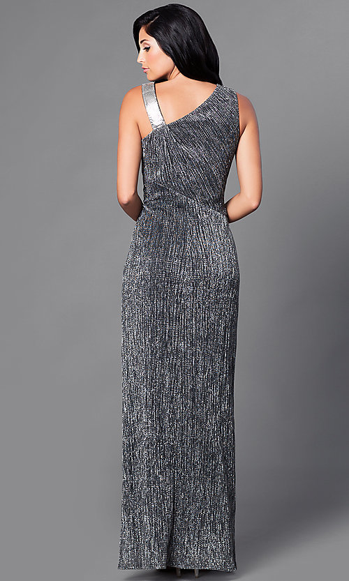 Image of long black and silver metallic affordable prom dress. Style: SG-ASAEE1AFB-B Back Image
