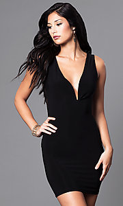 Image of black short v-neck party dress with sheer lace back. Style: SY-ID3534VP Back Image