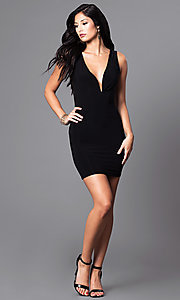 Image of black short v-neck party dress with sheer lace back. Style: SY-ID3534VP Detail Image 1