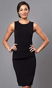 Image of black sleeveless short scoop-neck day-to-night dress. Style: MD-D14809QAR Front Image