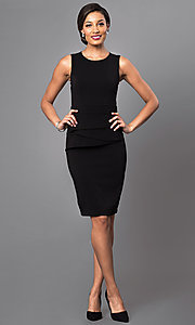 Image of black sleeveless short scoop-neck day-to-night dress. Style: MD-D14809QAR Detail Image 1