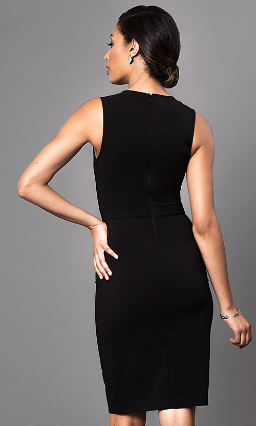 Image of black sleeveless short scoop-neck day-to-night dress. Style: MD-D14809QAR Back Image