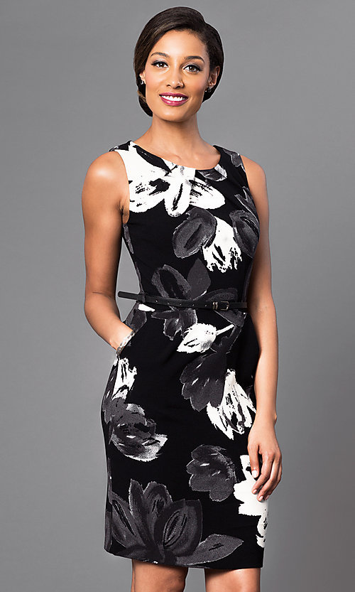 Image of floral-print short black dress with belted waist. Style: MD-D10734BQU Detail Image 1