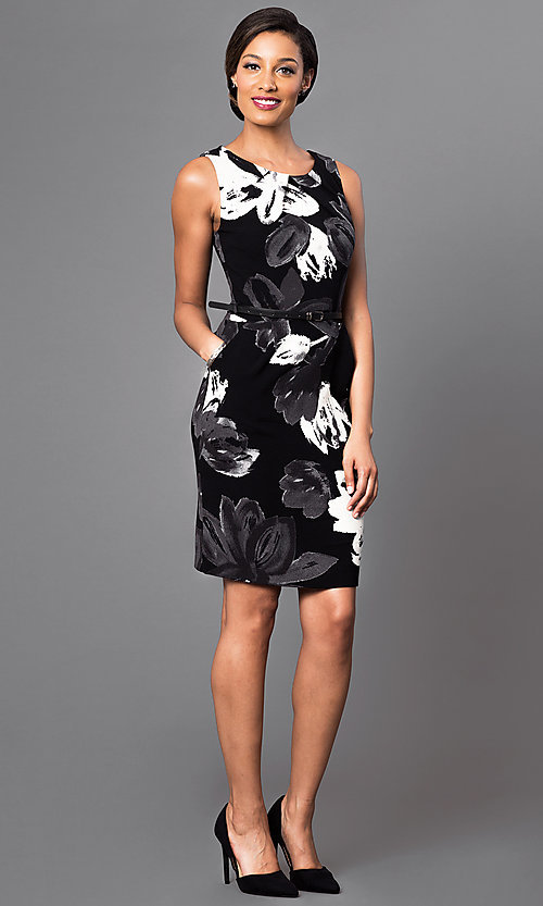 Image of floral-print short black dress with belted waist. Style: MD-D10734BQU Detail Image 2